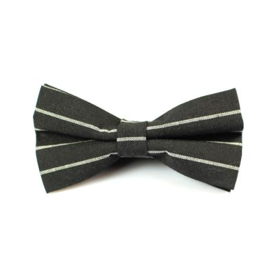 Dark Slate Grey and Slate Blue Polyester Striped Butterfly Bow Tie