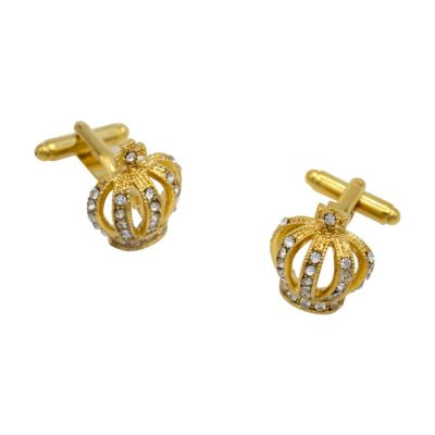 Gold Bejeweled Crown Cufflinks