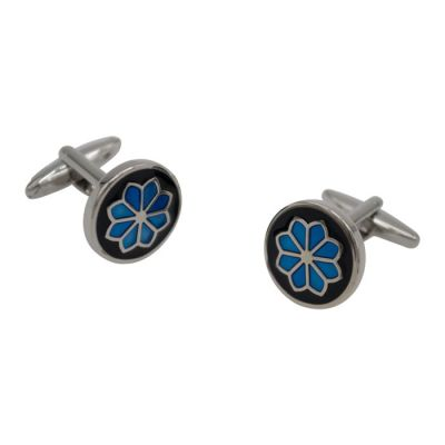 Blue Floral Brilliance Black Cufflinks