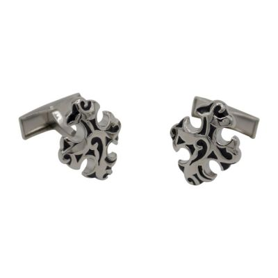 Black Baroque Cross Silver Cufflinks