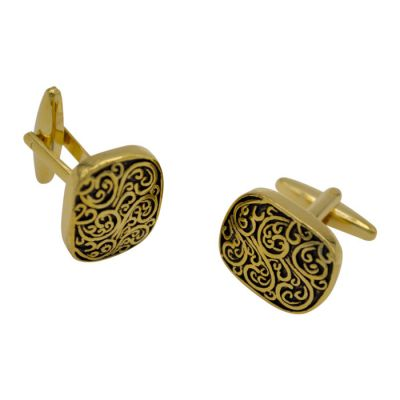 Black Carved Gold Cufflinks