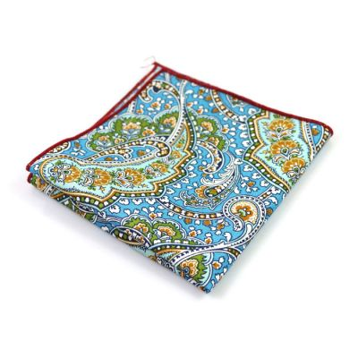 Green, Midnight, Champagne, Platinum and Blue Eyes Cotton Paisley Pocket Square