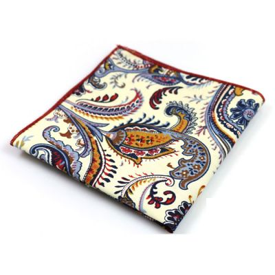 SeaShell, Midnight, Tiffany Blue, Earth Blue, Shocking Orange and Saffron Cotton Paisley Pocket Square