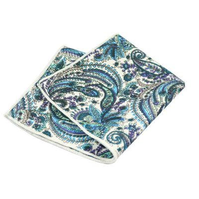 Platinum, Blue Eyes, Tiffany Blue, SeaShell, Gray Cloud, Grayish Turquoise and Camouflage Green Cotton Paisley Pocket Square