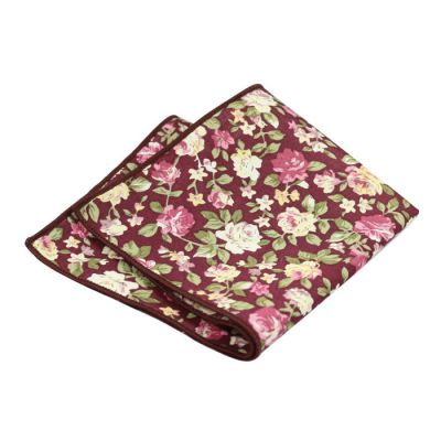 Corn Yellow, Green Peas, SeaShell and Dark Orchid Cotton Floral Pocket Square