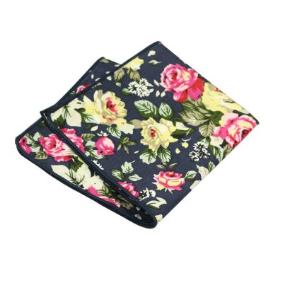 Corn Yellow, Dark Forest Green, Midnight Blue, Carnation Pink and Red Cotton Floral Pocket Square