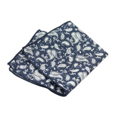 Dark Slate Blue and SeaShell Cotton Paisley Pocket Square
