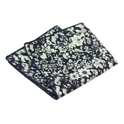 Midnight Blue, Blue Eyes and SeaShell Cotton Floral Pocket Square