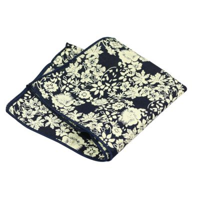 Midnight Blue and SeaShell Cotton Floral Pocket Square