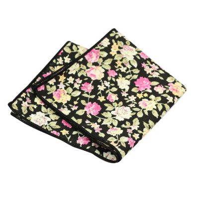 Night, Corn Yellow, Carnation Pink and SeaShell Cotton Floral Pocket Square
