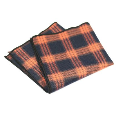Red Fox, Oil and Black Cotton Plaid Pocket Square