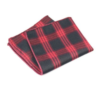 Shocking Orange and Black Cotton Plaid Pocket Square