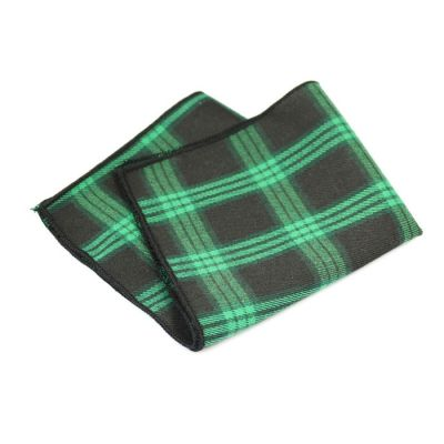 Black, Camouflage Green and Oil Cotton Plaid Pocket Square