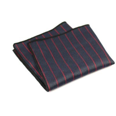 Shocking Orange and Black Cotton Striped Pocket Square