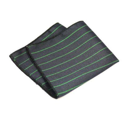 Black and Dark Sea Green Cotton Striped Pocket Square
