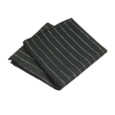Black, Platinum and Gray Dolphin Cotton Striped Pocket Square