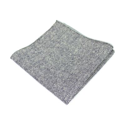 Platinum and Gray Dolphin Cotton Striped Pocket Square