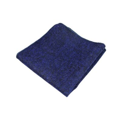 Navy Blue Cotton Solid Pocket Square