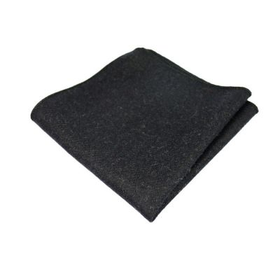 Black Cotton Solid Pocket Square
