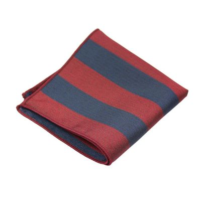 Red Wine and Dark Slate Blue Polyester Striped Pocket Square