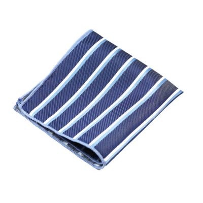 Mist Blue, Platinum and Water Polyester Striped Pocket Square