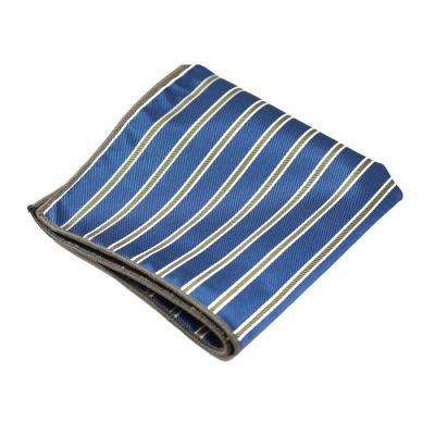 Platinum, Gray and Denim Dark Blue Polyester Striped Pocket Square