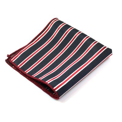 Dark Slate Blue, Red Wine and Platinum Polyester Striped Pocket Square