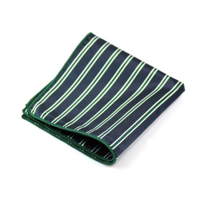Green, Platinum and Dark Slate Blue Polyester Striped Pocket Square