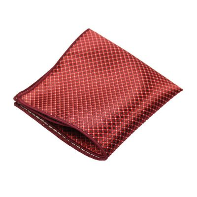 Red Wine and Shocking Orange Polyester Checkered Pocket Square