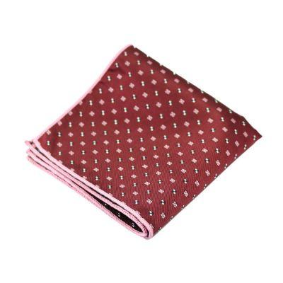 Hot Pink, Cranberry, Platinum and Black Polyester Novelty Pocket Square