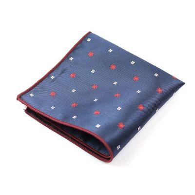 Midnight Blue, Shocking Orange and Platinum Polyester Novelty Pocket Square