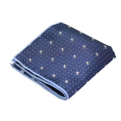 Midnight Blue, SeaShell and Columbia Blue Polyester Novelty Pocket Square