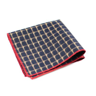 Love Red, Parchment and Midnight Blue Polyester Checkered Pocket Square