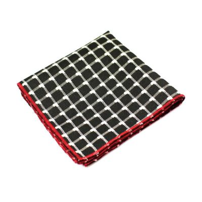 Love Red, Platinum and Gunmetal Polyester Checkered Pocket Square