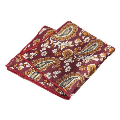 Platinum, Firebrick and Cinnamon Polyester Paisley Pocket Square