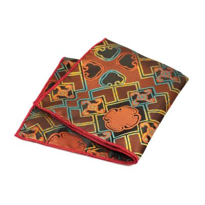 Midnight, Blue, Mahogany and Tiger Orange Polyester Paisley Pocket Square