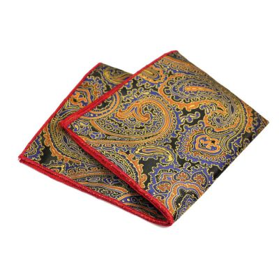 Love Red, Orange Gold, Purple Iris, Champagne and Gunmetal Polyester Paisley Pocket Square