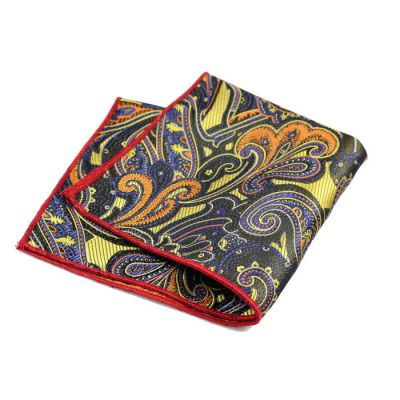 Tiger Orange, Purple Iris, Gunmetal and Love Red Polyester Paisley Pocket Square