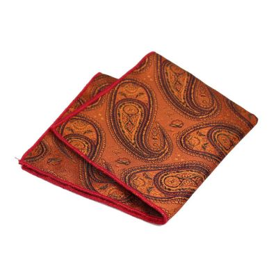 Love Red, Cinnamon, Mahogany and Indigo Polyester Paisley Pocket Square