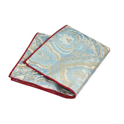 Red Wine, SeaShell, Platinum and Blue Polyester Paisley Pocket Square