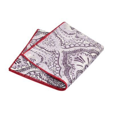 Mist Blue, Love Red, Plum Velvet and Mauve Polyester Paisley Pocket Square