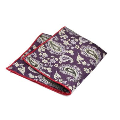 Love Red, Plum Velvet, SeaShell and Black Polyester Paisley Pocket Square
