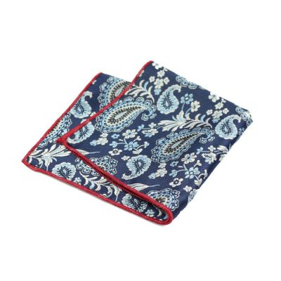 Love Red, Platinum, Blue Angel and Lapis Blue Polyester Paisley Pocket Square
