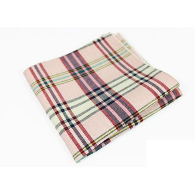 Coffee, Carnation Pink, Gunmetal, Gray Goose, Tea Green, Platinum and Hummingbird Green Cotton Plaid Pocket Square
