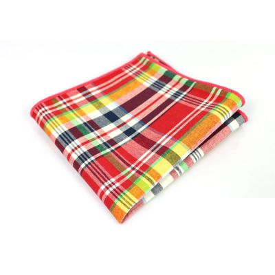 Lime Green, Firebrick, Rosy Brown, Platinum and Bronze Cotton Plaid Pocket Square