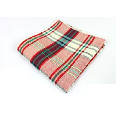 Firebrick, Tangerine, Army Brown, Rosy Brown, Platinum and Tea Green Cotton Plaid Pocket Square