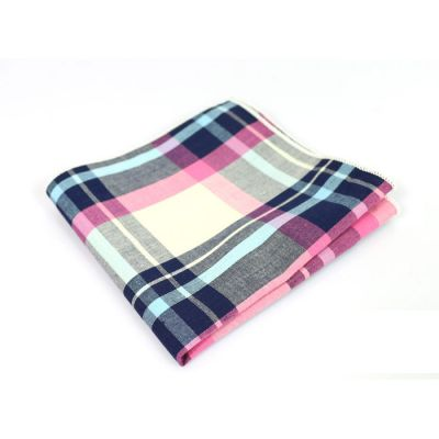 Pink, Gray Goose, Midnight Blue, Light Sky Blue, Platinum and Tea Green Cotton Plaid Pocket Square