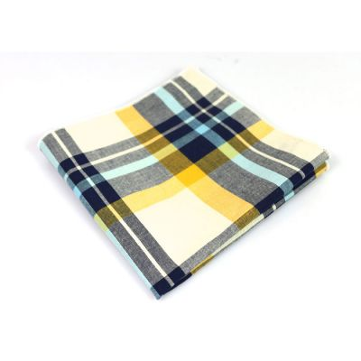 Tea Green, Grape, Gray Goose, Platinum and Light Sky Blue Cotton Plaid Pocket Square