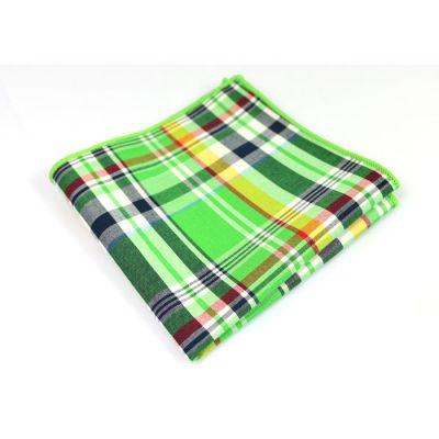 Green, Sandstone, Platinum, Grape, Bullet Shell and Lime Green Cotton Plaid Pocket Square