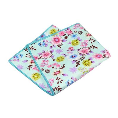 Blue, Red Dirt, Light Sky Blue, Green Onion, Pink and Platinum Cotton Floral Pocket Square